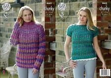 King Cole  Chunky  Knitting Pattern 4662: Sweater & Top