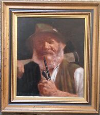 Enrico Gianna 1879 - 1932 Portrait Holzfäller Peinture à L'Huile de Haute