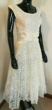 50's Vintage Off White Lace Tulle Lined Sleeveless Gown Wedding Dress S