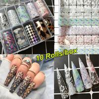 10Pcs Holographic Leopard Print Nail Foil Stickers Nail Art Transfer Foils Decor