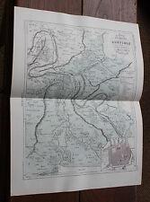 1850 Carte Géographique Atlas époque couleur Département 27 Eure Louviers