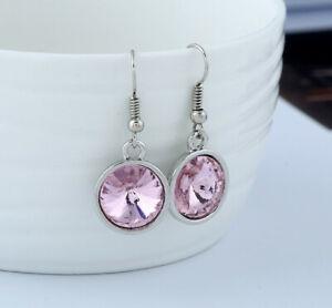 Women Jewellery Silver Round Crystal Rhinestone Dangle Hook Earrings Pink