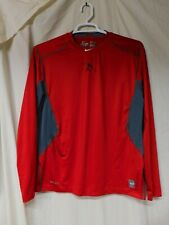 Nike Pro Combat Dri-Fit Fitted Red And Gray Top/Size Large/Pre-Owned