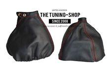 For Alfa Romeo 159 05-11 Gear & Handbrake Gaiter Black Leather Red Stitching