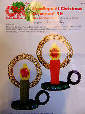 Pair Glittering Candle Christmas Ornaments Needlepoint Kit 8301 Columbia Minerva