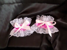 ADULT BABY FRILLY WHITE LACE TRIM DEEP PINK SATIN CUFFS WITH BOWS