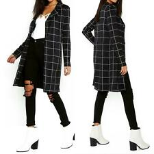 Women Check Tartan Grid Midi Long Duster Cardigan Formal Business Coat 8-18
