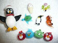 LOT 1O BLOWN GLASS MINIATURE ANIMALS ANGRY BIRDS PENGUIN BIRD TURTLE ICE CREAM C