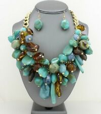 Multi Turquoise and Brown Lucite Beads Drops Chunky Necklace Earring Set