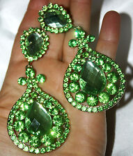 Green Chandelier Clip On Earrings Rhinestone Austrian Crystal Drag Pageant 3.8in