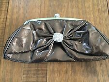 Ladies Gold Patent Clutch Bag Diamonte Clip Top Evening 2 detachable strapes VGC