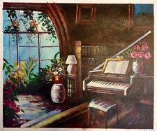 Peint à la main art peinture à l'huile sur toile, piano par la fenêtre
