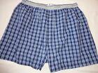 Vintage Fruit of the Loom Boxer Shorts Blue Plaid UNDERWEAR Men's Size M