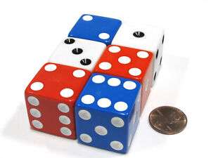 Set of 6 Patriotic D6 25mm Large Opaque Jumbo Dice- 2 Each of Red White and Blue