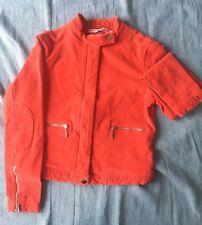 TOMMY HILFIGER Red Jacket S XS 10 8 Biker Corduroy Elbow Pads designer vintage