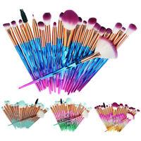 20PC Pro Mermaid Glitter Makeup Brushes Set Powder Foundation Cosmetic Brush Kit