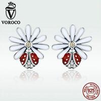 Voroco 925 Sterling Silver Stud Earrings Flower Charm Zircon luxury New Jewelry