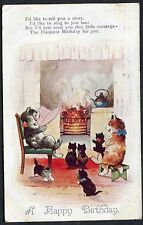 Posted 1929 1d Postal Union Congree Stamp Illustrated Birthday, Cats around Fire