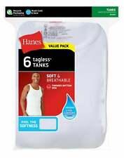 Hanes Men's TAGLESS ComfortSoft White A-Shirt 6-Pack Shirts Tank FreshIQ Value