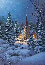 "Christmas Snowy Steeple Church Small Garden Flag 12.5""x18"" - 119417"