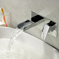 Waterfall Wall Mounted Square Basin Filler Mixer Tap | Lever Chrome Sink Faucet