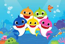 7x5ft Vinyl Cartoon Baby Shark Birthday Photo Studio Backdrop Background Banner