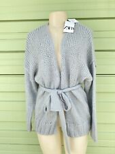 NWT ZARA Gray MOHAIR AND WOOL BLEND JACKET Tie Belt Long Sleeve Size S SMALL W7