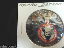 Metro Detroit War Chest United Campaign Tab Button 23mm never bent
