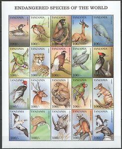 PK163 TANZANIA FAUNA ANIMALS BIRDS MARINE LIFE ENDANGERED BIG SH MNH