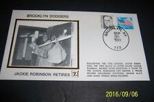 BROOKLYN DODGERS Jackie ROBINSON Retires From Baseball Silk Cachet 1st DAY COVER
