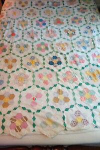 Vintage Grandmothers Flower Garden Patchwork Quilt Top Topper Feedsack C