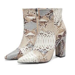 Women's Ankle Boots Sexy Snakeskin Print Block High Heels Pointed Toe Zip Shoes