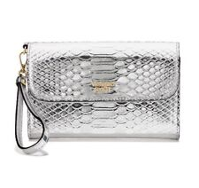 NWT Victoria's Secret  Luxe Python Wristlet Tech Clutch $38 Cute Silver