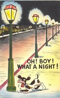"Comic Pun~""Oh Boy! What a Night!"" Dog Stops @ Long Row of Lamp Posts~1940 Linen"