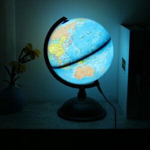 LED Light Stand Rotating World Globe Map Kid Student Educational Home Decor