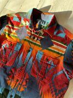 RARE Vintage Polo Ralph Lauren Aztec Shirt Size M Chamois Indian Western RRL
