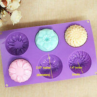 6 Cavity Flower Shaped Silicone DIY Handmade Soap Candle Cake Mold Supplies US