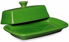 Green Butter Dish Holder Large Ceramic Storage Covered Lid Elegant Dining Decor
