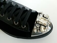 MIU MIU AMAZING BLACK VELOUR METAL CAP TOE CRYSTALS SNEAKERS EU 40 I LOVE SHOES