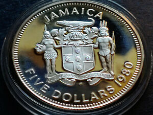 SILVER PROOF 1980  JAMAICA $5 SILVER FIVE DOLLAR COIN Mintage 2,688 w Holder