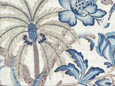 Drapery Upholstery Fabric Blended Linen Tropical Floral Palms - Blue