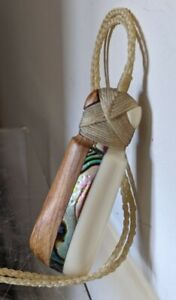 "Vintage Abalone Inlay Multi Media Handmade Necklace - Wood - Shell - 2"" Pendant"