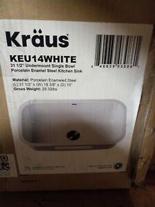 "Kraus KEU14WHITE 31 1/2"" UNDERMOUNT SINK BOWL"