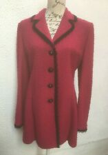 St John Coat UK 14 EU 42 US 10 Pink Designer Knit Black Button Wool Knee Ladies