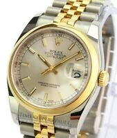 Authentic Rolex Mens Datejust 116233 Factory Silver Dial Smooth  Bezel 36mm