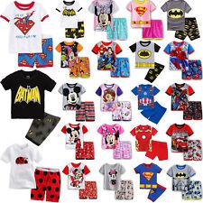 Toddler Kids Boys Girls Cartoon Short Sleeve Nightwear Sleepwear Pj's Pyjamas