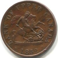 1852 BANK OF UPPER CANADA HALF-PENNY BANK TOKEN