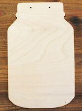 Mason Jar w/Hanging Holes Unfinished Wood Cutout DIY Crafts Door Wall Hanger