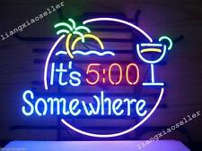 New 17X14 It's Five 5 O'clock Somewhere REAL GLASS NEON LIGHT BEER BAR PUB SIGN