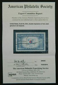 #921c DOUBLE IMPRESSION of RED ERROR used, genuine, APS cert ONLY 2 KNOWN !!!